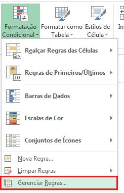 Gerenciar regras - Formatação Condicional no Excel
