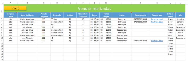 Baixar Planilha de estoque e vendas grátis no Excel