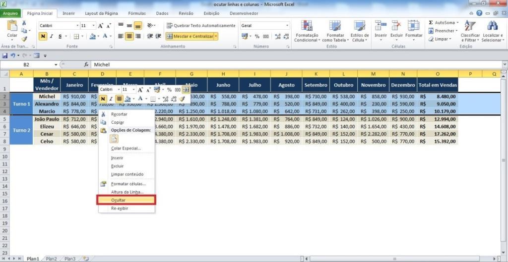 Ocultando linhas e colunas no Excel03