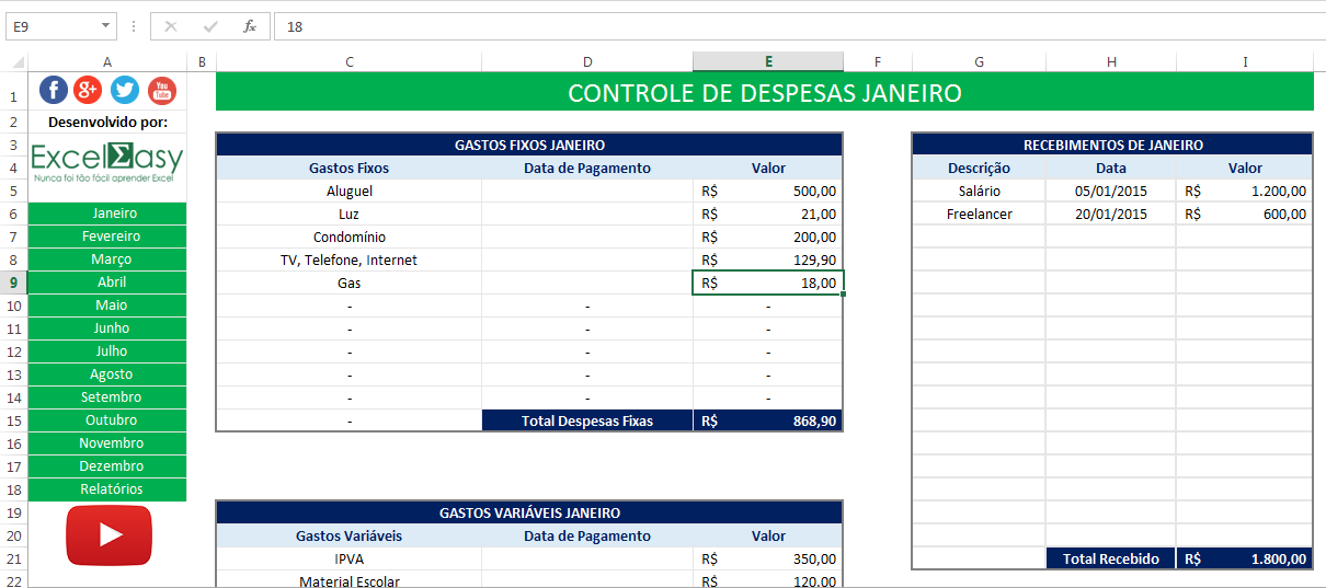 planilha de controle de despesas pessoais