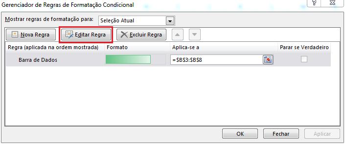 Editar Regra de Formatação Condicional no Excel
