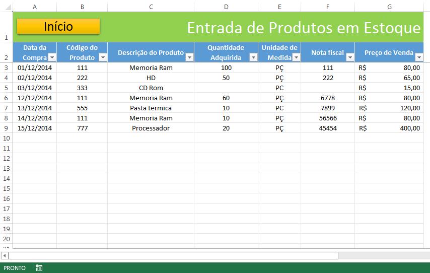 Planilha de estoque e vendas no Excel