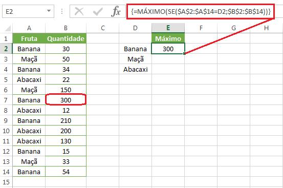 Função MÁXIMO aninhada com SE no Excel