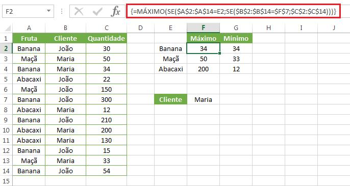 Como usar a Função MÁXIMO e MÍNIMO no Excel com vários critérios