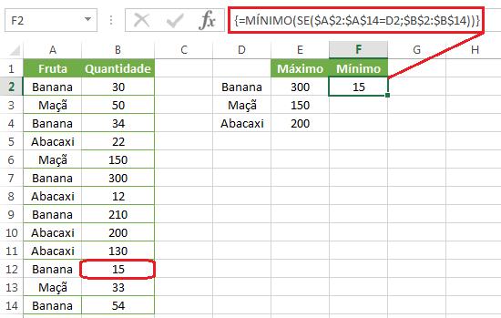 Função MÍNIMO aninhada SE no Excel