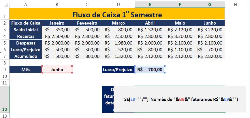 função SE com resposta automática no Excel