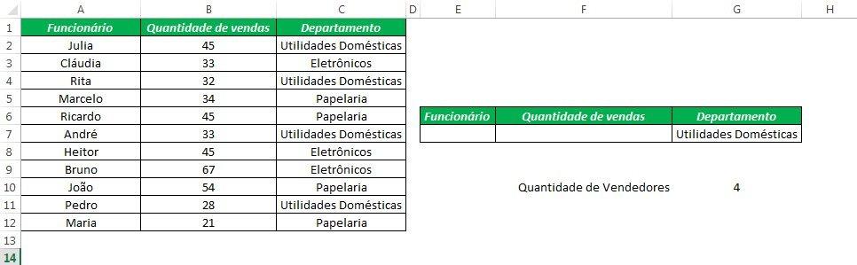 Excel Banco de Dados Funções