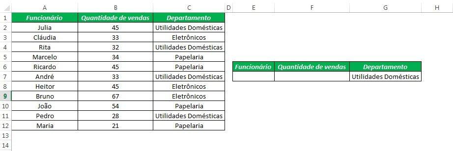 Função Banco de Dados Excel