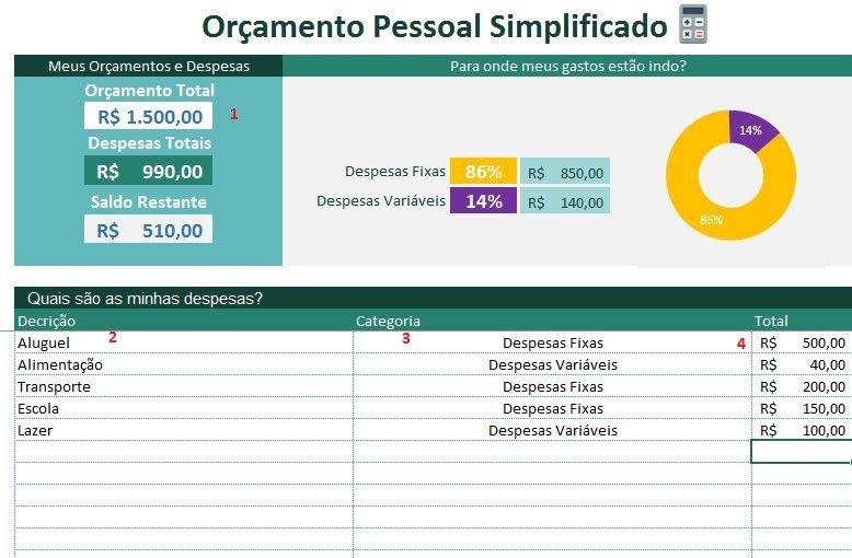 Planilha de Orçamento pessoal simplificado