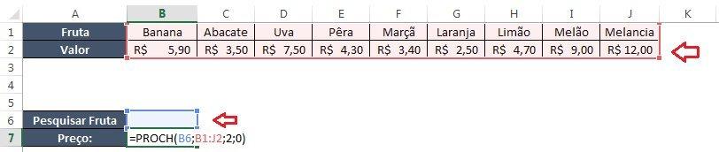 Função PROCH Excel