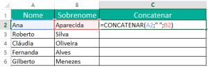 Função Concatenar com o Excel