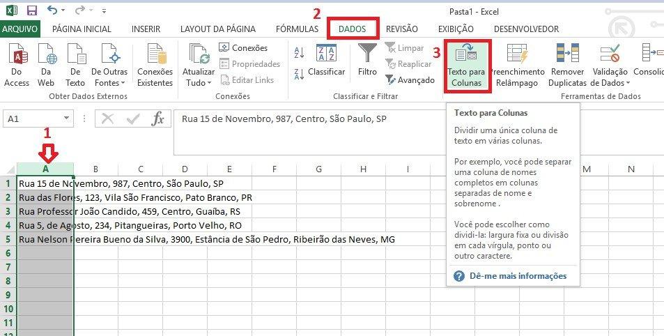 Textos em Colunas no Excel
