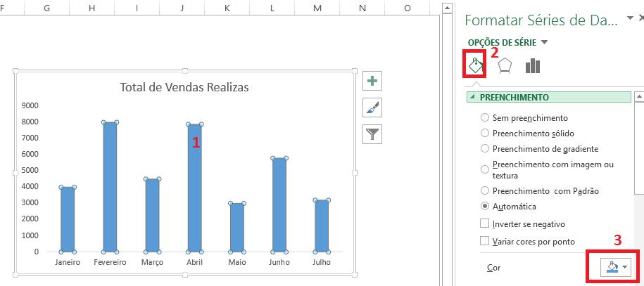 cores gráfico no Excel