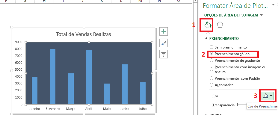 formatar gráfico no excel