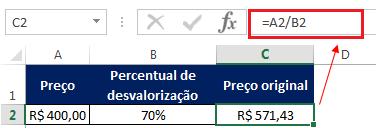 como fazer porcentagem usando o Excel