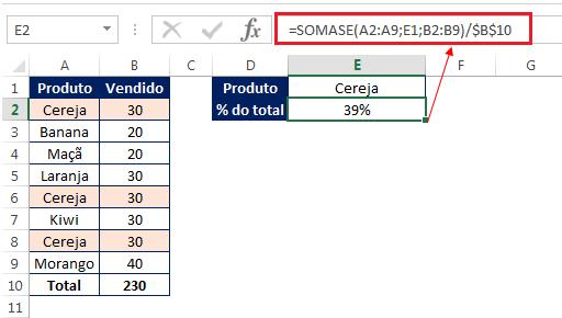 cálculo de porcentagem no Excel