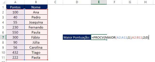 Funções Aninhadas PROCV com MAIOR no Excel