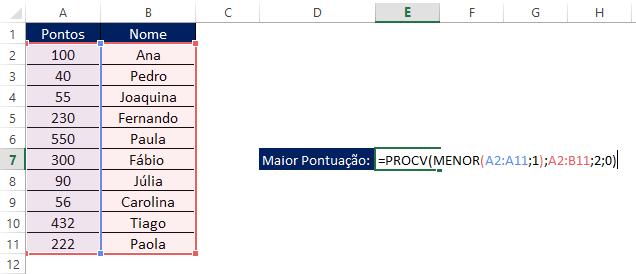 Excel Funções Aninhadas PROCV com MENOR