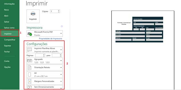 Como Configurar Impressão no Excel,passo 5