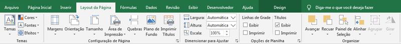 Layout da página Excel