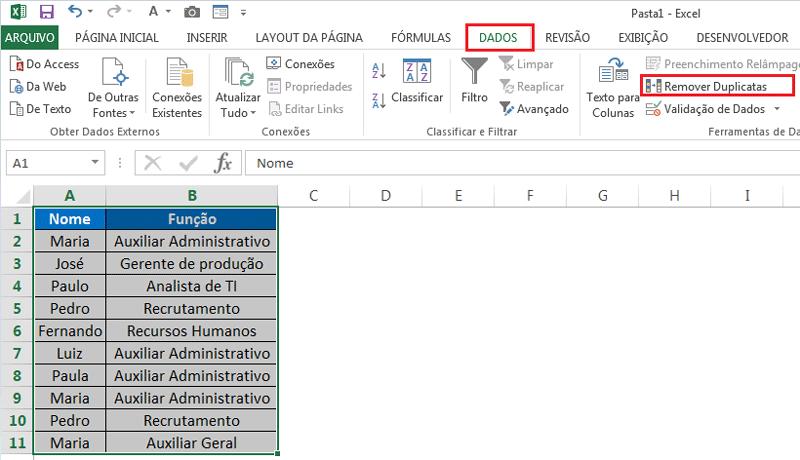 remover duplicatas no Excel passo a passo