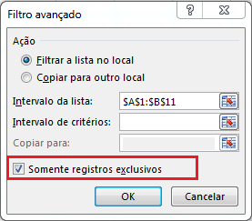 Manter somente registros exclusivos e remover duplicatas no Excel
