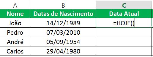 calcular idade no Excel