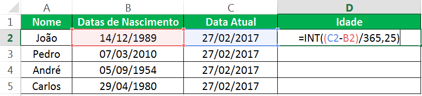 Aprenda a calcular Idade no Excel
