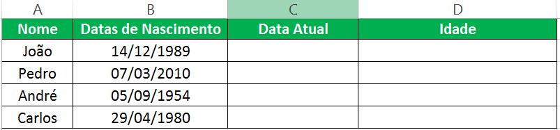 Calcular idade com o Excel