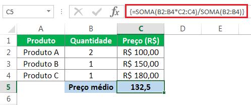 como usar a função soma para calcular a média ponderada