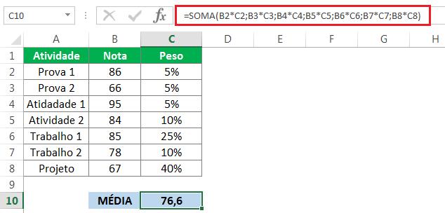 função soma para calcular a média ponderada no Excel