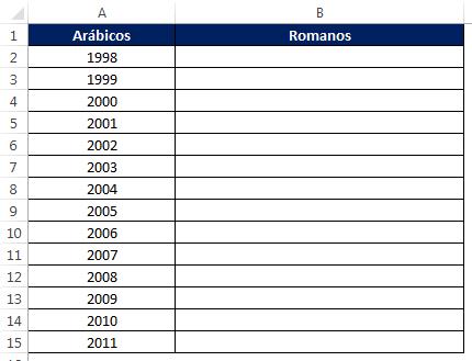 algarismo romano no Excel