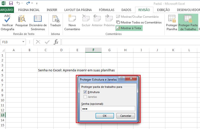 Como inserir senha em pasta de trabalho do Excel
