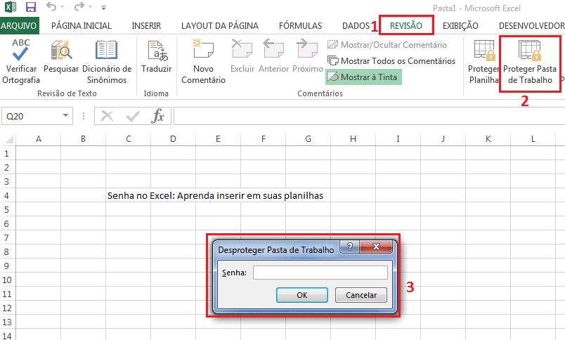 Como desproteger em pasta de trabalho do Excel