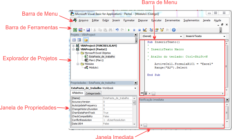 Anatomia do Visual Basic no Excel
