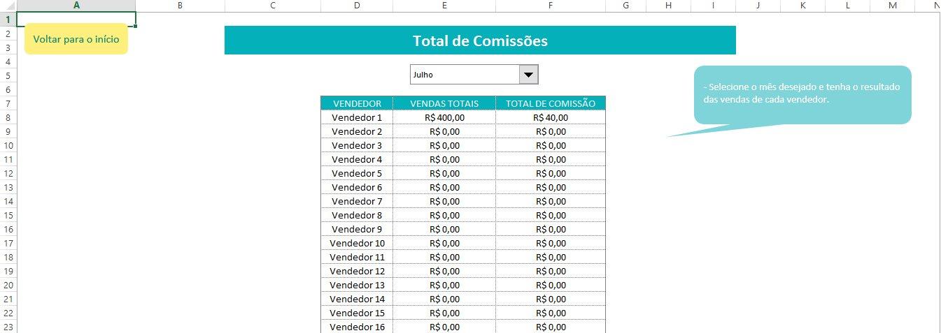 Planilha Comissão de Vendas