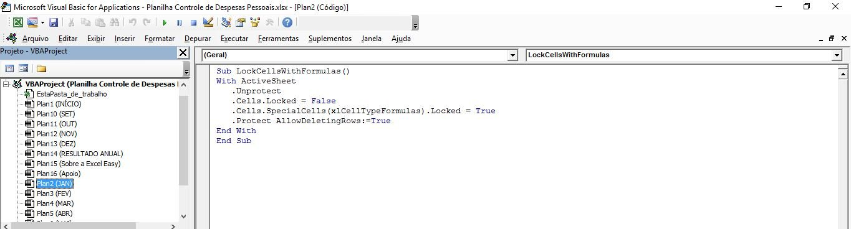 Bloquear células com fórmulas no Excel - VBA