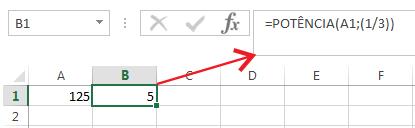 Calcular raiz cúbica no Excel