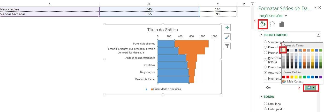 Gráfico funil de vendas no Excel