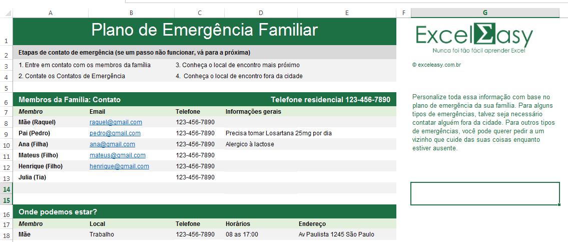 Baixar Planilha de emergência familiar