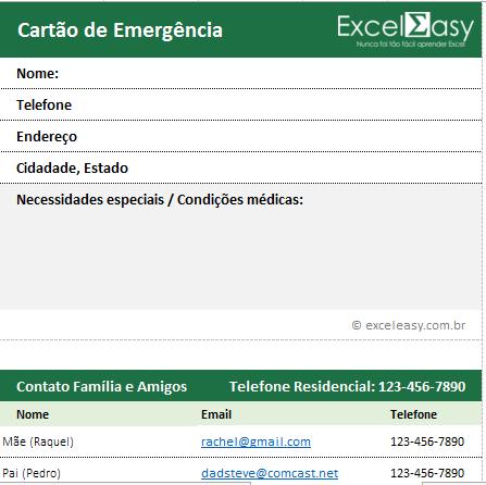 Planilha de emergência familiar grátis