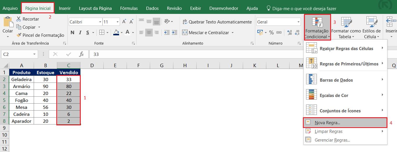 Usando as funções E com OU para com a formatação condicional