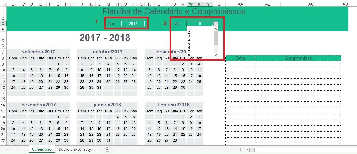 Planilha de Calendário e Compromissos