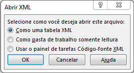 abrir arquivo XML no Excel