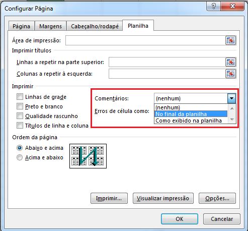 como imprimo comentários no Excel