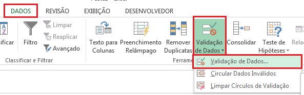 Validação de Dados por lista suspensa no Excel