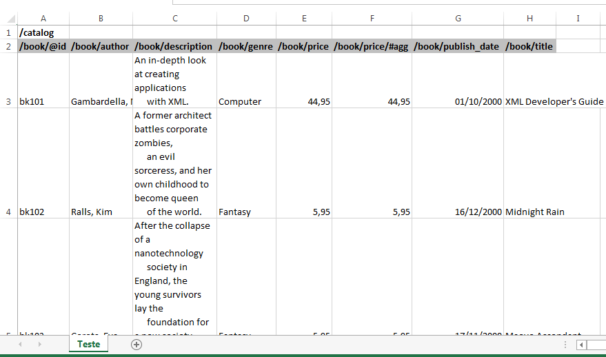 Como editar XML no Excel
