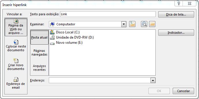 Como inserir um hiperlink no Excel