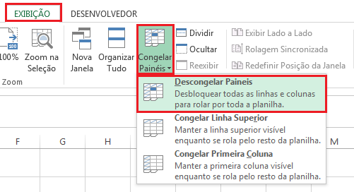 Descongelar Painéis no Excel