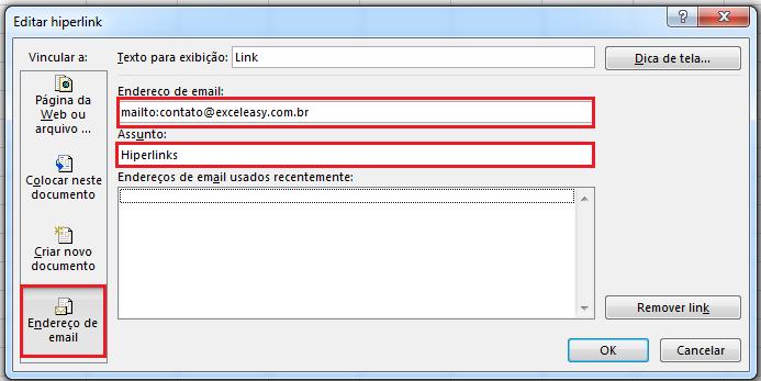 Hiperlink e-mail no Excel